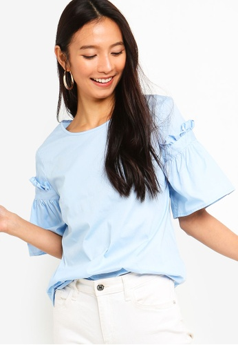 ZALORA blue Flare Sleeves Embroidered Top DF34FAA4C89C58GS_1