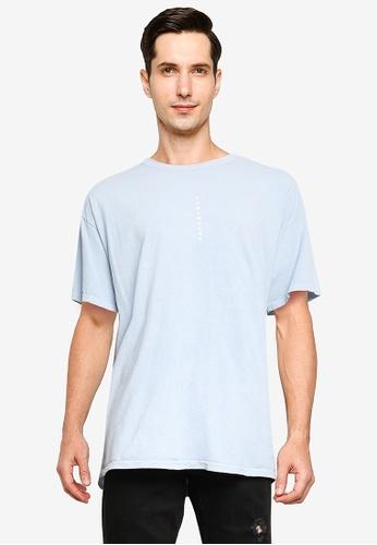 Topman blue Blue Somewhere Vertical T-Shirt 2A41FAA6005BF7GS_1