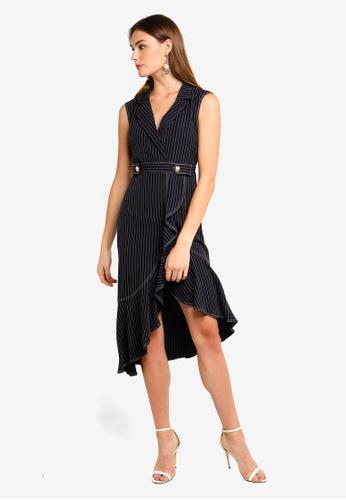 24067729327 BYSI blue Pinstripe Ruffle Wrap Dress B24E8AA5A9A75DGS 1