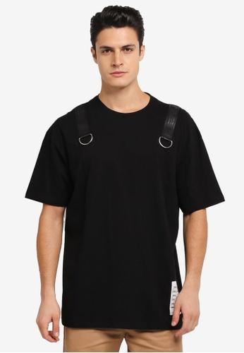 Flesh IMP black Buckle Up Force Oversized T-Shirt FL064AA0SJNRMY_1
