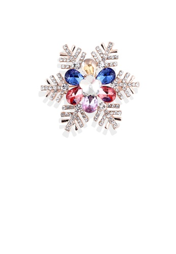 Glamorousky silver Fashion Bright Plated Gold Snowflake Brooch with Cubic Zirconia FDE3DACEEF7EA3GS_1
