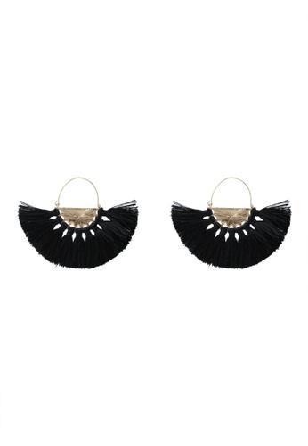 Rubi black and multi and gold Half Hoop Fan Tassle Earrings C95FDAC1DCBD82GS_1