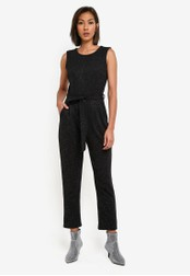 Dorothy Perkins black Petite Gold Sparkle Jumpsuit DO816AA0SB6FMY_1