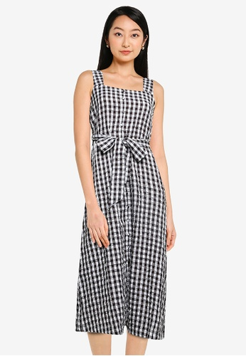 ZALORA BASICS multi Button Down Pinafore Dress with Self Tie 0D610AA15A767CGS_1