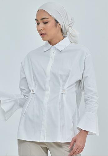 MC Vogue white Blair White Pearl Cotton Top 0B9C1AA1BBCF56GS_1