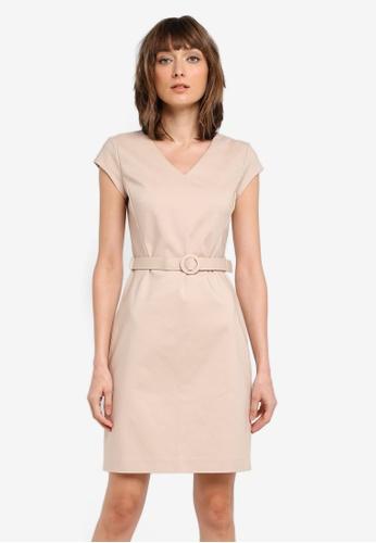 Mango beige Belt Cotton Dress MA193AA0T0XSMY_1