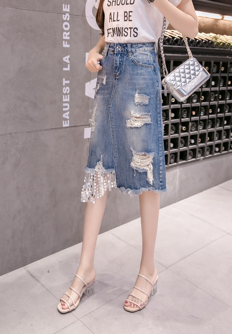Women Details Denim Skirt Lara Rips Sequins Stitch blue BICxqwd