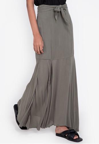 ZALORA BASICS green Tie Detail Maxi Skirt with Slit 11F08AA38E3098GS_1