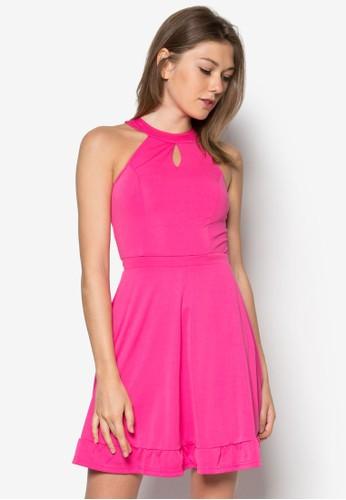 繞脖鏤空傘狀洋裝, 服飾, 夏zalora鞋子評價日洋裝