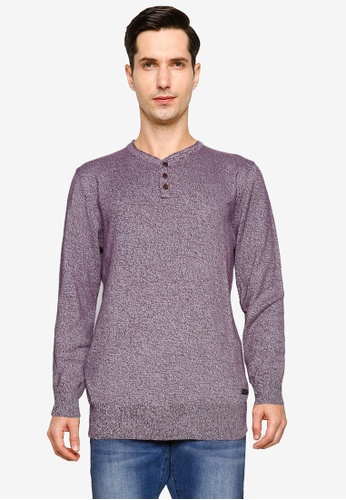 Brave Soul red Y-Neck Rolled Edge Jumper 8BCE0AA08728F7GS_1