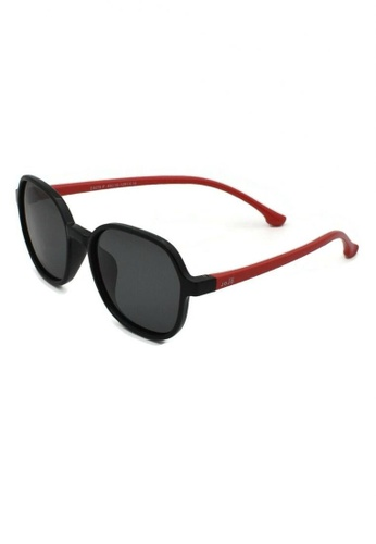 jojo black Square Slim Temple Polarized Sunglasses 45B7FKCF162941GS_1