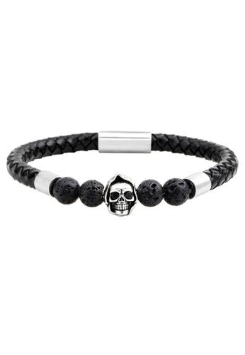 HAPPY FRIDAYS Skull Leather  Bracelet QNW2448 F9BB3ACC737597GS_1