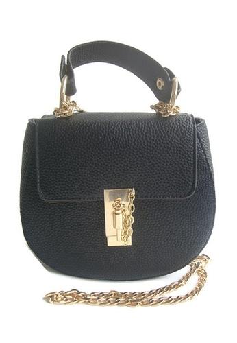 LULUGIFT black Circle Luxury Pink Pu Leather Metal Chain Sling Bag LU989AC47VHSMY_1