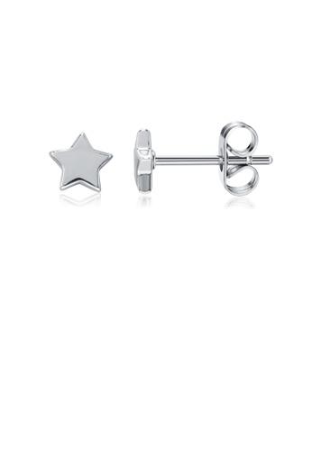 Glamorousky silver Simple Fashion Star Stud Earrings 4322CAC2B7CDA5GS_1