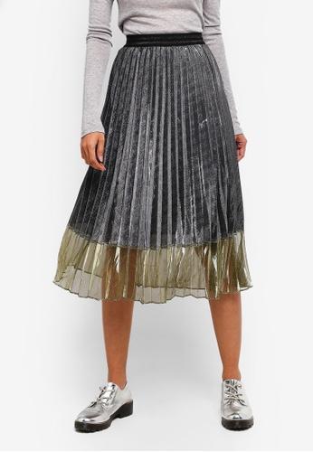 Hopeshow silver Pleated Skirt With Semi Sheer Mesh 201EEAAE446F52GS_1