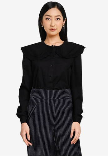 JACQUELINE DE YONG black Mumbai Life Long Sleeves Collar Shirt CDAC9AAF04E58EGS_1
