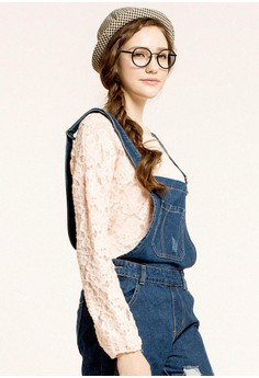 [Mo-Bo] Long Sleeve Lace Top with Back Tie