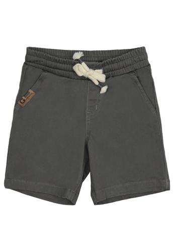 Grizzly grey Boys Infant Garterized Twill Short with Patch Pocket 1BFA5KAB2AE57CGS_1