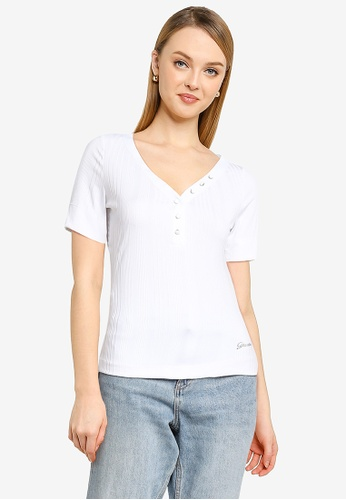 GUESS white Short Sleeve Leticia Tee 4A620AA0785F27GS_1