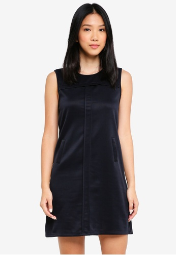 ZALORA BASICS navy Pleat Detail Shift Dress 88136AA0F82A97GS_1