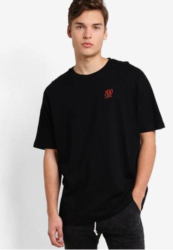 Flesh IMP 黑色 Hundred Embroidery Oversized T-Shirt FL064AA98NXTMY_1