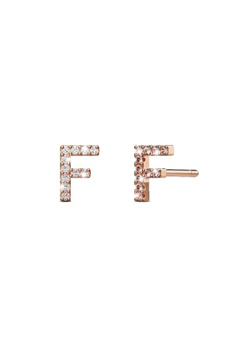 925 Signature silver 925 SIGNATURE Solid 925 Sterling Silver Glamour Alphabet Letter Earrings Rose Gold - F 3BAACACCC01F9FGS_1