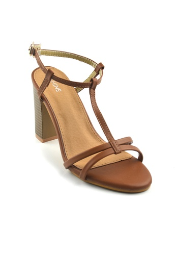 SHINE brown STRAPPY HEELED SANDALS SH554SH61TGKSG_1