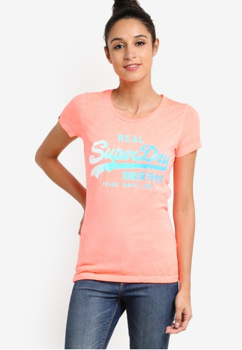 Superdry orange Vintage Logo Burn Out Tee SU137AA47LTCMY_1