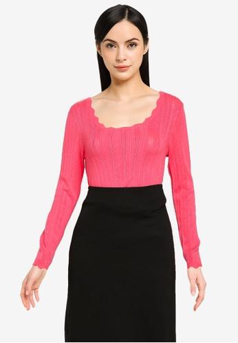 Vero Moda pink VMKHAIYA LS SQUARENECK BLOUSE GA 56A4FAAA46CA57GS_1