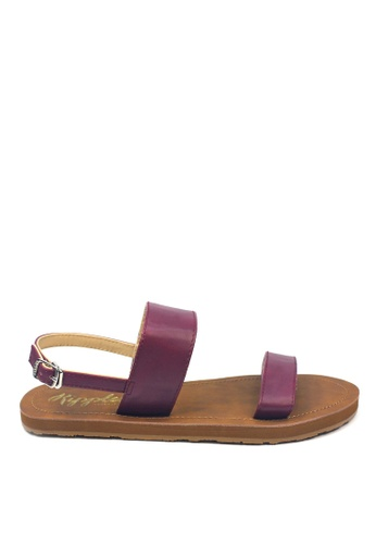 Ripples brown and purple Isabel Double Straps Sandals 44ABASH57DBD50GS_1