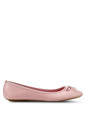 OVS 粉紅色 紋理平底鞋 With Bow 6E012SH0F026B6GS_1