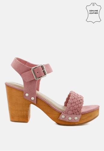 RAG & CO 粉紅色 厚底木屐SUED编织凉鞋 2DADASH774096EGS_1