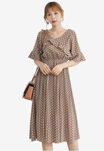 Tokichoi brown Floral Ruffled Sleeve Dress FAAA1AA43B7CADGS_1