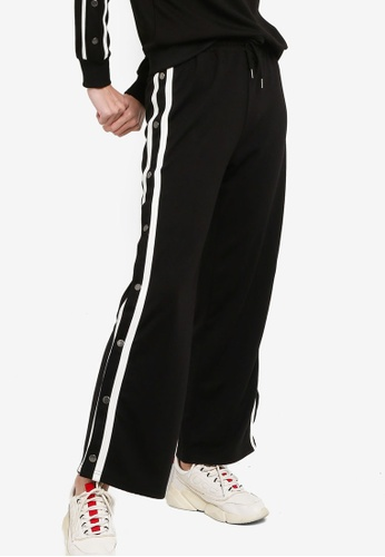 ZALORA ACTIVE black and white Snap Button Track Pants 3C121AAFCFE4D0GS_1