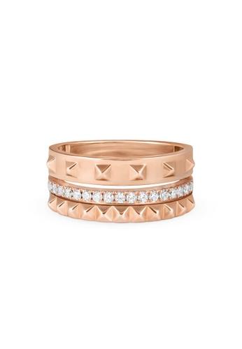 Aquae Jewels pink Ring Rich & Bold Triplet Diamond Band – 18K Gold - Rose Gold 9088EACFFF766CGS_1
