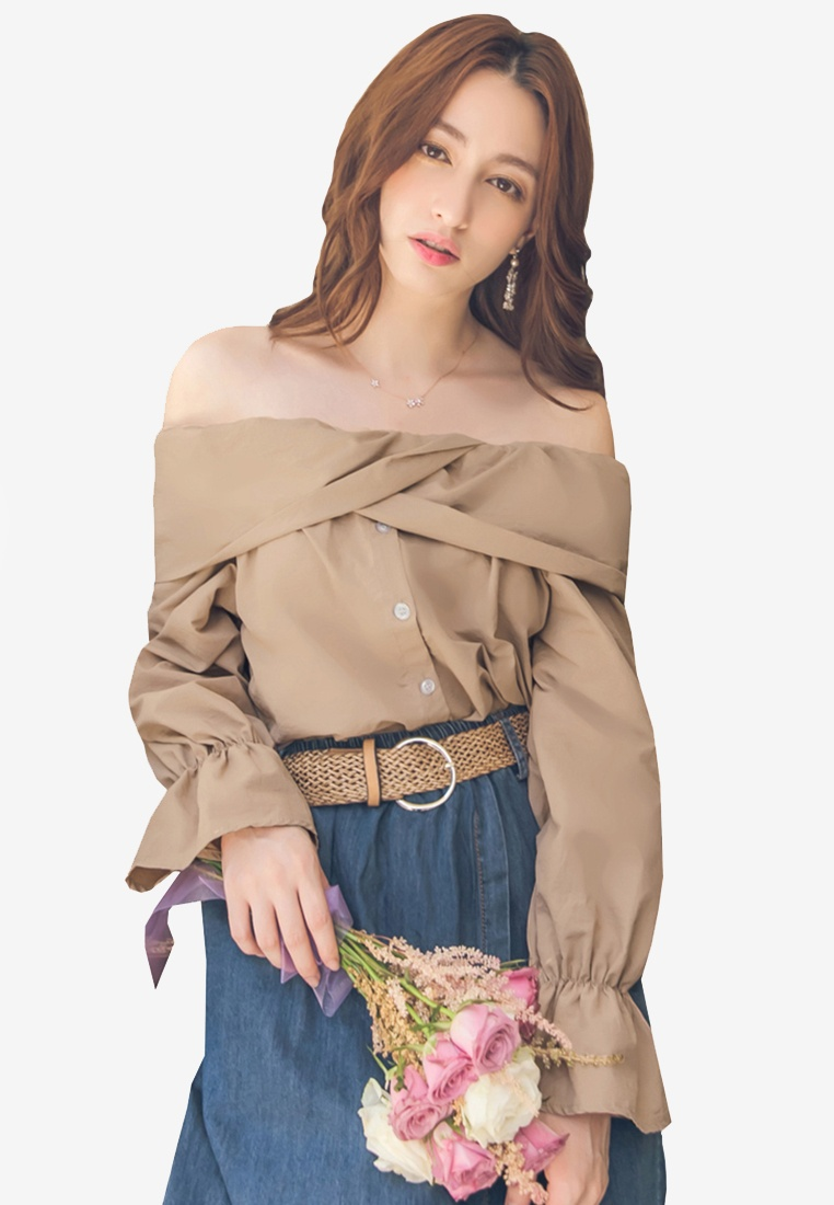 Button Top Sleeve Yoco Puff Front Camel nPTYxcqwBc