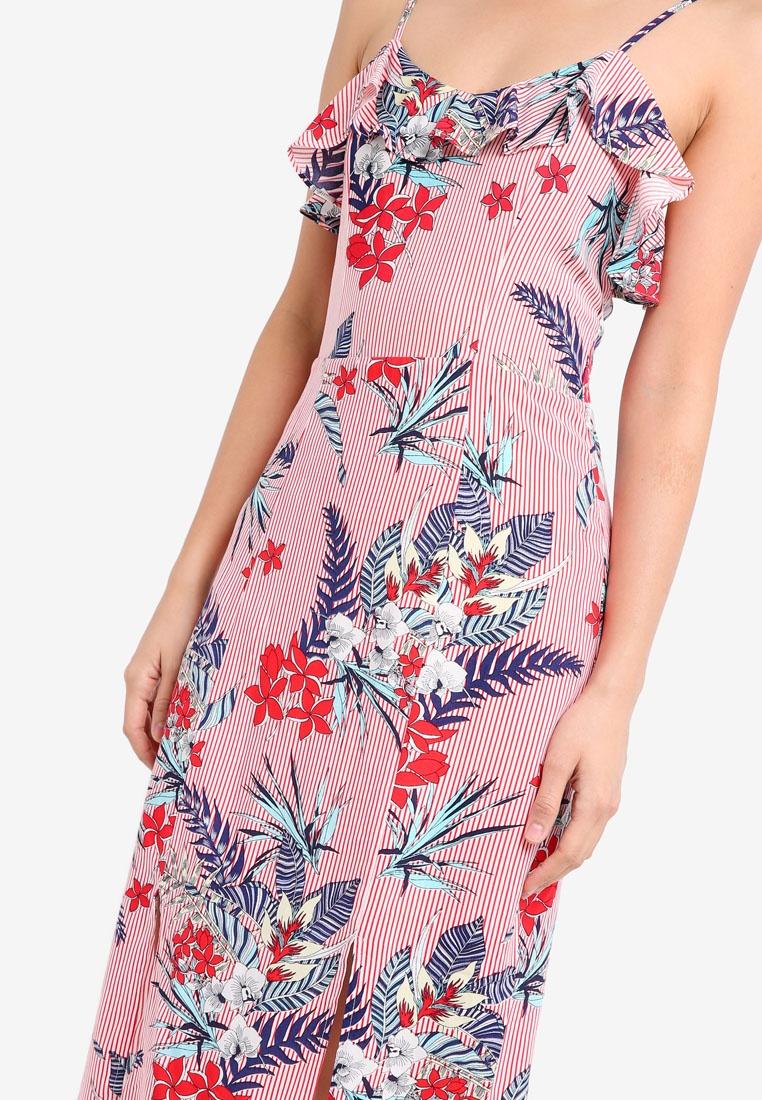 ZALORA Cami Frill with Stripes Neckline Red Floral Dress gpxvwSp4