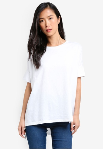 UniqTee white Side Split Long Line Tee UN097AA0S22MMY_1