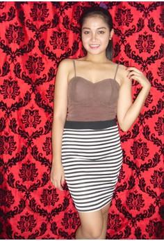 White and Black Bandage Skirt