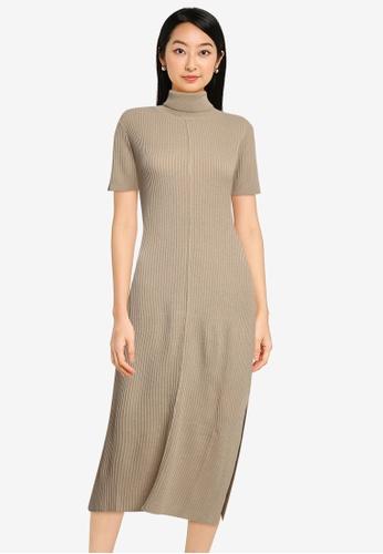 ZALORA BASICS brown Turtle Neck Knit Dress With Side Slits 86295AADA5D693GS_1