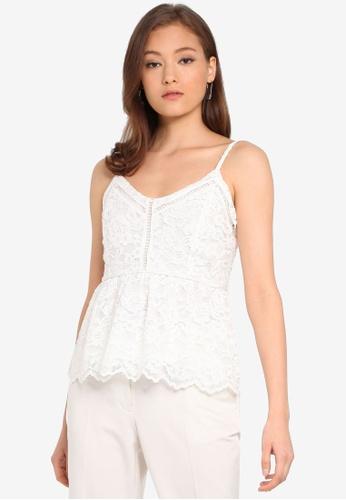 Forever New 白色 Antonia 蕾絲 滾邊細肩帶上衣 8F872AA7197FD2GS_1