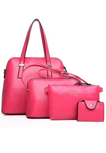 LULUGIFT pink Luxury Elegant PU Leather Sling Handbag 4in1 Bag Kate Design Pink LU989AC69HNQMY_1
