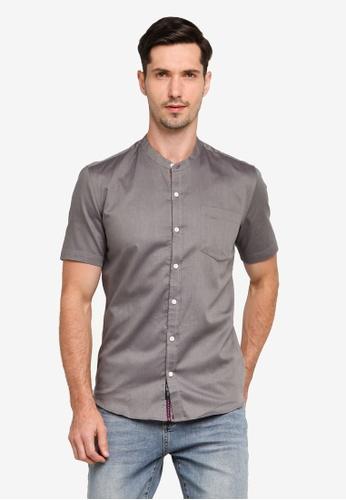 UniqTee grey Mandarin Collar Short Sleeve Shirt 12979AA065F306GS_1