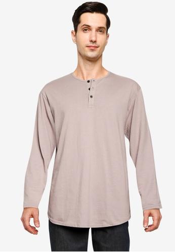 Cotton On blue Longline Scoop Henley Long Sleeve T-Shirt B181DAADE1D2E8GS_1