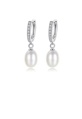 Glamorousky white 925 Sterling Silver Elegant Fashion Geometric White Freshwater Pearl Earrings 6D133AC75649D1GS_1