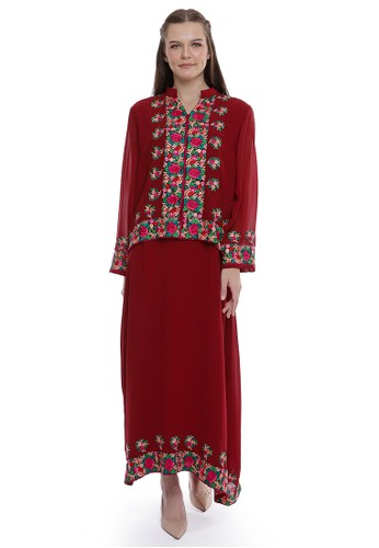 """Devain Kapoor red """"Arisia"""" Dress with Cape 75AD2AAB90BF09GS_1"""