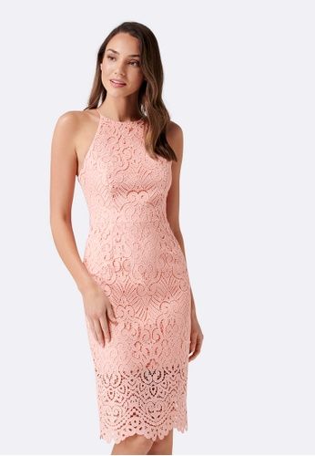 Forever New pink Debbie Lace Pencil Dress 60EC2AAB853652GS_1