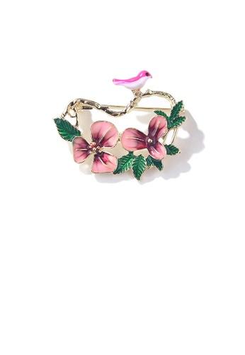 Glamorousky silver Elegant and Fashion Plated Gold Enamel Pink Flower Bird Brooch 46B60ACB1291A1GS_1