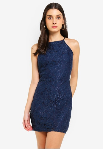 MISSGUIDED navy Petite Lace Square Neck Bodycon Dress 83AD1AA210BAA7GS_1