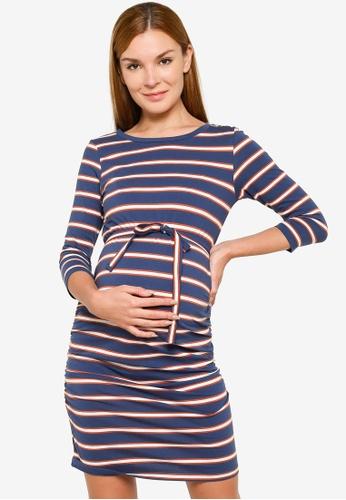 Mama.licious navy Maternity Carmen 3/4 Sleeve Jersey Dress 59E6EAA2D92739GS_1